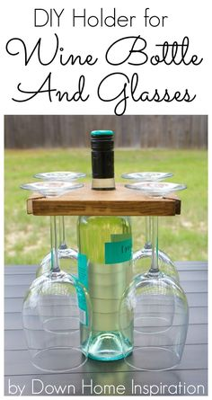 How awesome!  Going to make one of these!  How to Make a DIY Holder for a Wine Bottle and Glasses - Down Home Inspiration #WoodworkingPlansWineRack