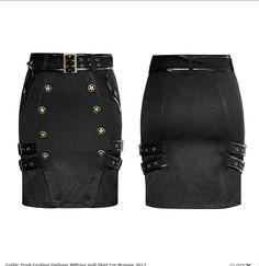 847143ecb555a schwarzer Military- / Uniform-Minirock von Punk Rave für einen dunklen aber  femininen Look im Pin-Up-Stil.