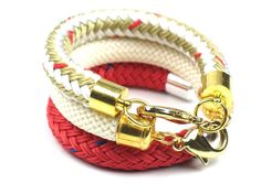 Chunky Rope Bracelet in Braided Boating Cord with Red Beige Gold Detail, Womens Gift for Her, Artisan Textile Fiber Marine Rope Jewelry