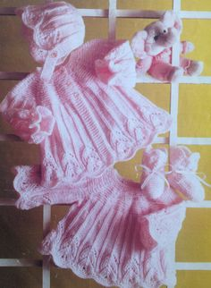 baby girls knitting pattern matinee coat dress booties and bonnetn sizes 14 16 18 20 inches double knitting or 4 ply