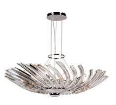 This contemporary pendant light with polished chrome finish looks trendy and current!