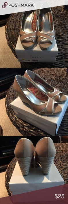 Wedges Tan and gold wedge, size 10, good condition Anne Klein Shoes Wedges