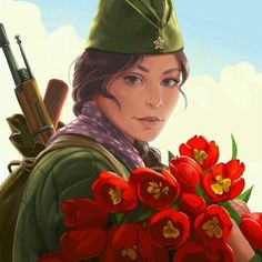 Anime Military, Military Art, Soviet Art, Soviet Union, 1 Clipart, Dark Art Drawings, Like Image, Female Soldier, Red Army