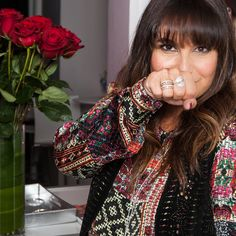 Stylist Nicole Chavez looking fierce while showing her cool PANDORA ring style at Glamour Beauty Bar during New York Fashion Week. #PANDORAatNYFW
