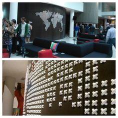 World Map at an Amsterdam Hotel created by Umbra Cross Stitch Wall Decor co-designer Marianne von Ooij.