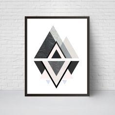 Geometric Mountain Wall Art Print Printable Art Mid by EVEprints