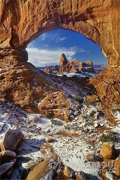 Turret Arch through North Window Arches National Park, Utah, United States of America.