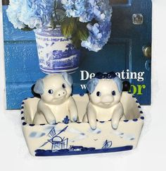 Delft Salt & Pepper Shakers w/ Matching Tray  by ChicMouseVintage
