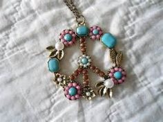 Peace Sign On A Chain Hippie Jewelry Hippie Necklace Boho Jewelry