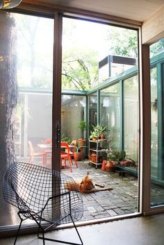 glass courtyard.
