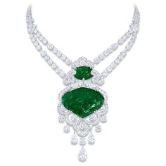 Carved Emerald Diamond Necklace Graff Diamonds ❤ liked on Polyvore featuring jewelry, necklaces, diamond necklace, emerald diamond necklace, graff jewelry, emerald necklaces and carved jewelry