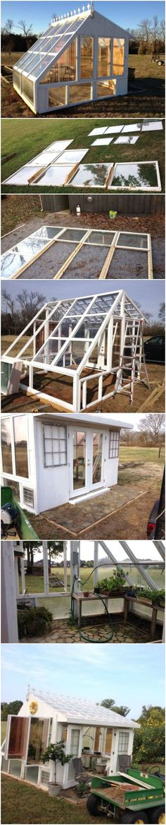 Facing south, a solar-powered #greenhouse constructed with old windows