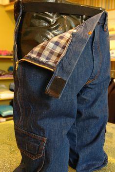 mens adaptive wheelchair denim trouser.