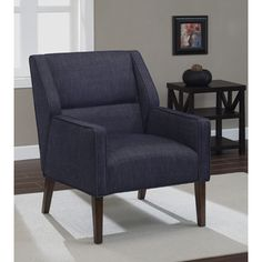 @Overstock - Perry Indigo Arm Chair - The Perry Arm Chair brings a unique design to the home with a deep walnut finish. The clean lines, updated styling and beautiful indigo upholstery color add a bit of sophistication to the room.  http://www.overstock.com/Home-Garden/Perry-Indigo-Arm-Chair/8326969/product.html?CID=214117 $231.99