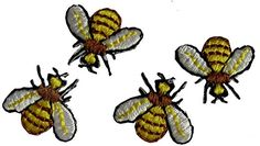 """[4 Count Set] Custom and Unique (5/8"""" Inches) Flying Insect Fuzzy Bumble Bee Iron On Embroidered Applique Patch {Yellow, Brown and White Colors}"""