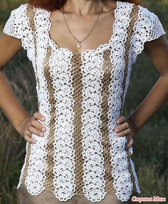 Crochet shirts made with long any-length motif strips vertically  Knit 2 models beautiful blouses ribbons.  Join