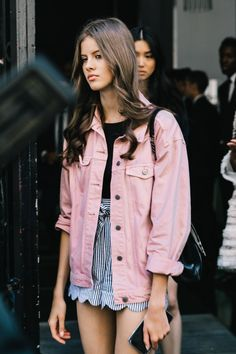 pink denim jacket and scalloped shorts