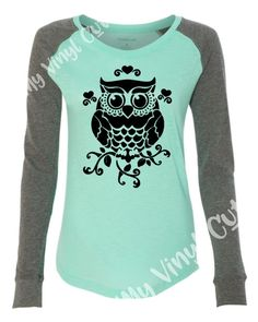 Long Sleeve Raglan Elbow Patch Women's Ladies Tee T Shirt owl camper bravery outdoor nature sayings by MyVinylCut on Etsy