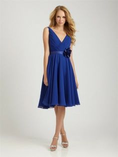 bd9fef88a7f9 Royal Blue Chiffon Short Bridesmaid Dresses Cocktail Dress With Flower - I  really like the v neck with thicker straps in a lighter fabric