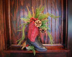 "Christmas Western Cowboy Boot Wildflower Arrangement / Centerpiece "" Christmas Crimson """