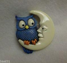 Owl on Man in Moon Pin carved from Vintage Bakelite Brad Elfrink