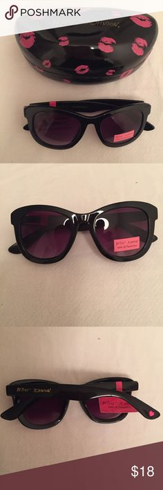 Betsey Johnson Black Sunglasses w/ Lip Print Case These awesome Betsey Johnson sunglasses feature thick black frames with the Betsey Johnson logo in gold on the side. Also included is a large Betsey Johnson sunglasses case that is black with a pink lip print and a velvet interior. They are brand-new with tag. If you have any questions, please ask! Betsey Johnson Accessories Sunglasses