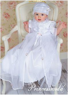 ♥ SELINE ♥ Langes Taufkleid mit Hut in schneeweiß - Princessmoda - Alles für Taufe Kommunion und festliche Anlässe