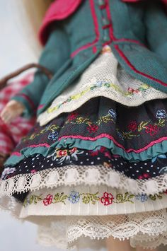 Love the layering & embroidery details of this doll dress