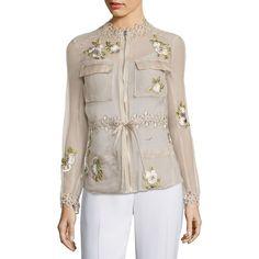 Elie Tahari Katya Silk Cargo Organza Jacket ($398) ❤ liked on Polyvore featuring outerwear, jackets, elie tahari jacket, high neck jacket, organza jacket, elie tahari and silk jacket