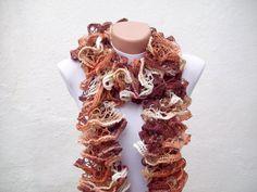SALE  20  Was 25 Now 20  Brown Cream Knit Scarf Fall by nurlu, $20.00
