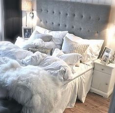 Gray + white bedroom.
