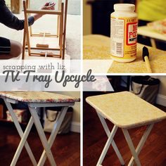 Scrapping with Liz: TV Tray Upcycle - I would rather get some dark brown ones or black wood ones I've seen but this would be cheaper (and cuter!) :)