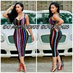 Multicolored summer dress women rainbow striped bandage dress v-neck sleeveless party bodycon Midi dress*****THIS PRODUCT SHPS FROM CHINA****Color Multicolored Sizes S, M, L, XLOccasion: club, party, casual, Prom, Homecoming, Holidays, Dinner, fashion, celeb Unique Sheath Bodycon Style, wedding reception High Quality Bandage, Lingerie, bathing suit cover up, skirt, dress, pants romper jumpsuit, trousers