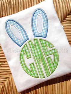 Easter Bunny Ears Monogram Tshirt  Easter by laceykayecreations, $26.00