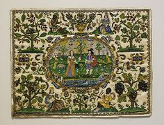 Lady and Cavalier Surrounded by the Four Continents    Date:      1651  Culture:      English  Medium:      Satin with beadwork of opaque and traslucent glass beads; silk thread  Dimensions:      H. 16 1/4 x W. 21 1/2 inches (41.3 x 54.6 cm) framed  Classification:      Textiles-Embroidered  Credit Line:      Gift of Estate of James Hazen Hyde, 1959  Accession Number:      59.208.68