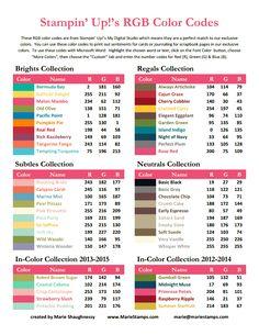 Liste des codes des couleurs stampin up pour colorier les dessins dans silhouette studio avec la palette des couleurs stampin up