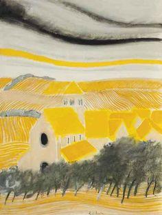 blastedheath:  André Brasilier (French, b. 1929), Village aux toits jaunes, 1972. Oil and pencil on canvas, 130.1 x 97.2cm.
