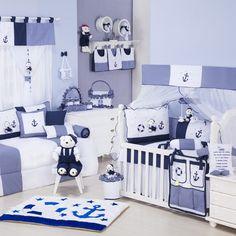 O Quarto para Bebê Marinheiro Azul é uma gracinha! O quarto de menino com tema náutico vai ficar um espetáculo!