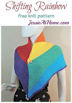 Free knitting pattern: Shifting Rainbow triangular shawl by Jessie At Home