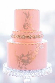 25 Supersweet and Girlie Wedding Cakes: You can never go wrong when pink meets gold, and this stunning cake is one perfect example of that.  Photo by Propel Workshops via Style Me Pretty