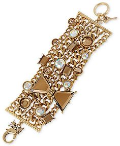 Betsey Johnson Bracelet, Antique Gold-Tone Topaz Crystal Bow Wide Multi-Chain Bracelet - Fashion Jewelry - Jewelry & Watches - Macy's