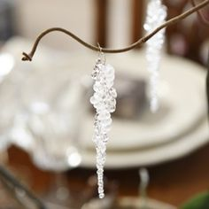 Icicles from silver wire and drop shaped glass beads