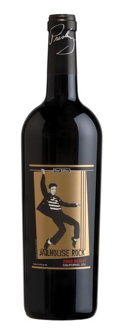 Elvis Presley - Wine Cellars 'Jailhouse Rock' Merlot I'll drink to that ! Cool Packaging, Wine Packaging, Wine Design, Bottle Design, Merlot Wine, Red Wine, Wine Bottle Labels, Wine Bottles, Jailhouse Rock