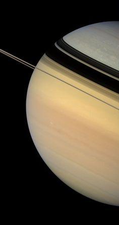 Dark & Sharply Defined Ring Shadows (Tourniquet Shadows) On Saturn - Cassini