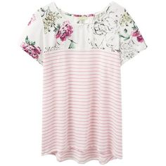 Women's Joules Suzy Jersey Woven Mix T-Shirt ($35) ❤ liked on Polyvore featuring tops, t-shirts, floral print t shirt, pink jersey, lightweight t shirts, braided t shirt and pink tee
