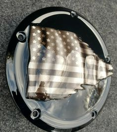 American flag tattered with a black and white theme Harley Davidson derby clutch cover Black And White Flag, Street Glide, Thin Blue Lines, American Flag, Color Combinations, Derby, Harley Davidson, Motorcycles, Paint