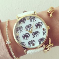 Cute elephant watch ! Stainless steel back Genuine leather strap watch face diameter 40mm