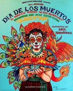 Magnifico poster del Dia de Los Muertos que los estudiantes de las clases de espanol pueden crear usando como ejemplo este creativo poster.