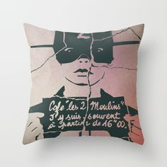 Amelie Throw Pillow by Munamia | Amelie movie poster | illustration | graphic design | vector art | drawing | painting | movie quote | ink |