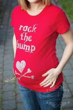 Blessence Rock the Bump- Red-shirt,top,maternity,clothes,trendy, comfortable,mom,gift,mom 2 be, red, christmas, holiday